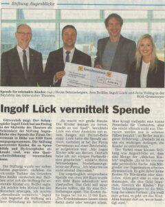Ingolf Lück vermittelt Spende